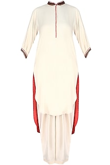 Cream Embroidered High Low Printed Kurta with Dhoti Pants by Nikasha