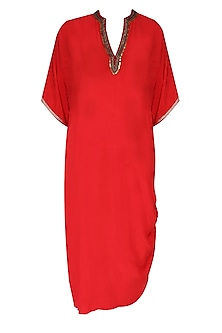 Red Embroidered Rouched Kurta with Dhoti Pants