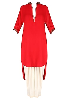 Red Embroidered High Low Printed Kurta with Ivory Dhoti Pants