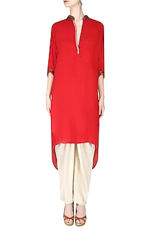 Red Embroidered High Low Printed Kurta with Ivory Dhoti Pants by Nikasha