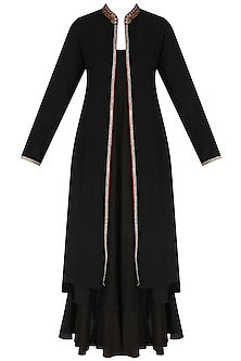Black Embroiedered Jacket with Long Slip Dress
