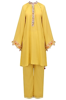 Pitambari Yellow Embroidered Tunic with Pin Tuck Pants