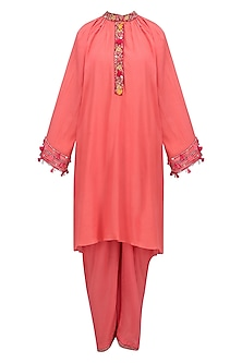 Gajari Orange Embroidered Tunic with Pin Tuck Pants