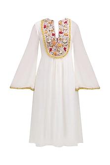Cream Floral Embroidered Yoke Tunic Dress by Nikasha