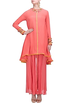 Gajari Asymmetric Embroidered Tunic and Sharara Pants Set by Nikasha