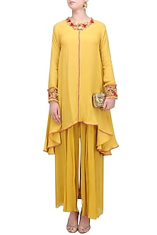 Pitambari Yellow Asymmetric Embroidered Tunic and Sharara Pants Set by Nikasha
