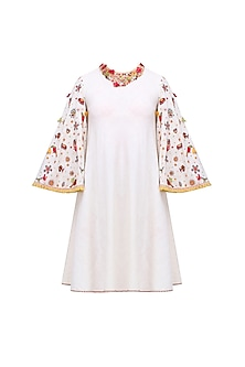 Cream Embroidered Bell Sleeves A Line Dress by Nikasha