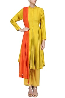 Olive Godet Kurta with Straight Pants and Kota Doria Dupatta by Nikasha