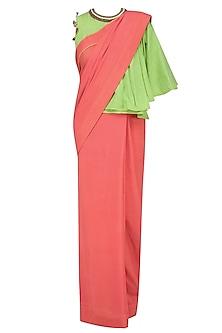 Gajari Orange Saree with Green Embroidered One Shoulder Blouse by Nikasha