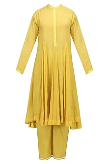 Pitambari Yellow Godet Kurta with Straight Pants and Kota Doria Dupatta by Nikasha