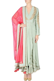 Mint Embroidered Front Open Layered Kalidaar Set with Embellished Dupatta by Nikasha