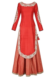 Krishna Red Embroidered Kurta with Printed Lehenga and Embellished Dupatta