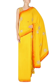 Solid Yellow Embroidered Saree with Embellished Blouse by Nikasha
