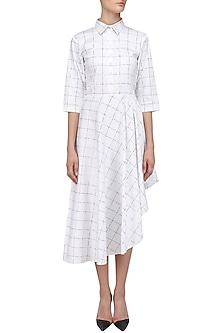 White Checkered Shirt Dress by Nishka Lulla