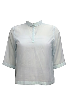 Light blue PK polo style shimmer t-shirt by Nishka Lulla