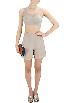 Light grey high waisted swiss shorts by Nishka Lulla