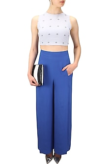 Classic blue high waisted front slit palazzo pants  by Nishka Lulla