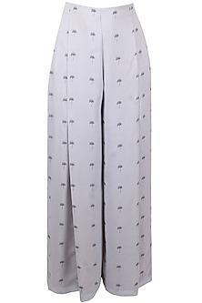Light grey lantana printed high waisted palazzo pants