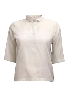 Light grey PK polo style shimmer t-shirt by Nishka Lulla