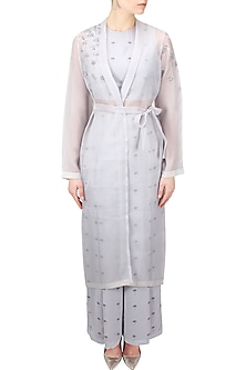Light grey lantana print and sequins embroidered trench jacket by Nishka Lulla
