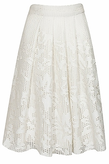 White Leather Applique Work Skirt