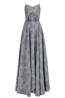 Grey Mogra Print Cut Out Assymetric Gown by Nishka Lulla
