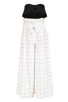 White Checkered Paper Bag Waist Culottes and Bralet Set