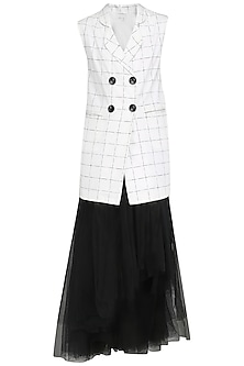 White Checkered Blazer with Black High Low Skirt by Nishka Lulla