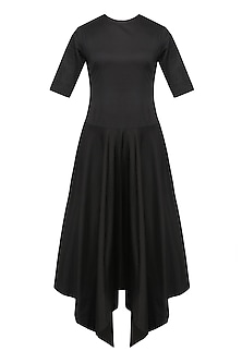 Black Elbow Sleeves Asymmetric Dress by Nishka Lulla