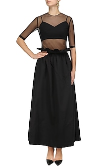 Black Paperbag High Waisted Skirt, Bustier and Top Set by Nishka Lulla