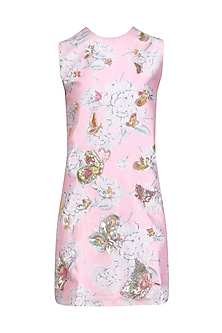 Rose Pink Floral Print and Butterfly Motifs Dress by Nishka Lulla