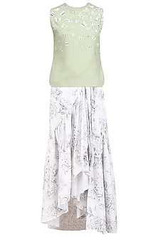 White Frilled Skirt and Mint Green Embroidered Top Set by Nishka Lulla