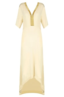 Cream Floor Length Kaftan Sleeved Dress