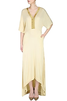 Cream Floor Length Kaftan Sleeved Dress by Nimirta Lalwani