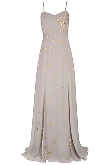 Silver and Gold Round Motifs Long Flared Gown