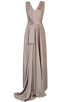 Grey Embroidered Long Flared Drape Gown