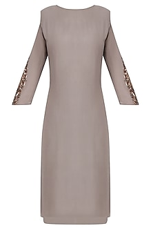 Grey Embroidered Cold Shoulder Knee Length Dress