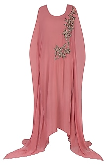 Rose Pink Embroidered Long Flared Kaftan Gown