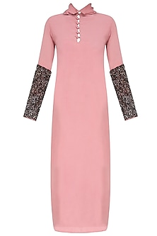 Rose Pink Sequins Embroidered Full Sleeves Dress
