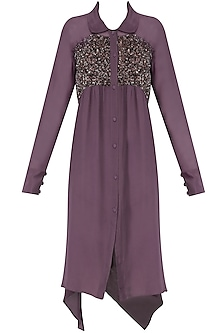 Purple Sequins Embroidered Shirt Dress