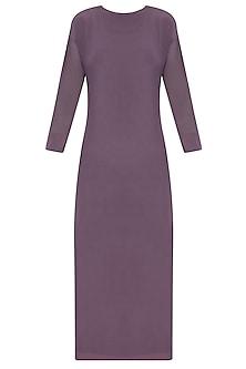 Purple Knee Length Dress With Mesh Sleeves