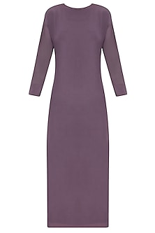 Purple Knee Length Dress With Mesh Sleeves by Nimirta Lalwani