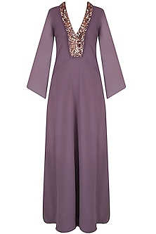 Purple Embroidered Kaftan Sleeves Gown