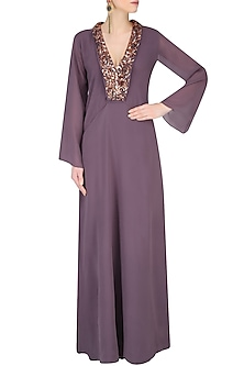 Purple Embroidered Kaftan Sleeves Gown by Nimirta Lalwani