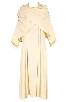 Cream Shawl Wrap Up Drape Dress