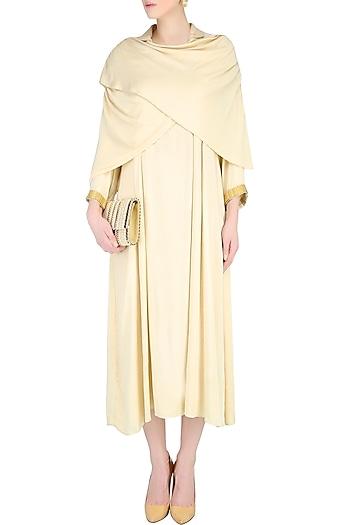 Cream Shawl Wrap Up Drape Dress by Nimirta Lalwani