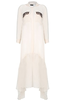 Cream Long Shirt Dress With Sequins Embellished Pockets