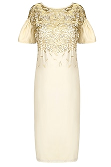 Cream and Gold Embroidered Knee Length Shift Dress by Nimirta Lalwani