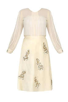 Cream Zardozi and Stone Embroidered Motifs Skirt and Top Set