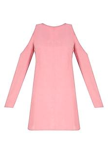 Rose Pink Cutout Shoulder Short Dress